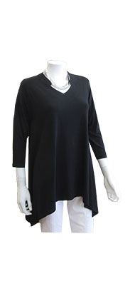 Chalet Black Vneck Top With Collar