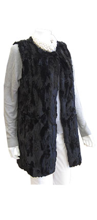 Melody Black Furry Vest