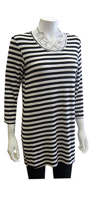 Comfy 3/4 Sleeve Slim Tunic Black and White Stripes