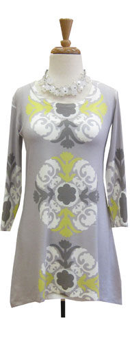 Before & Again Butter Tunic Medallion Grey