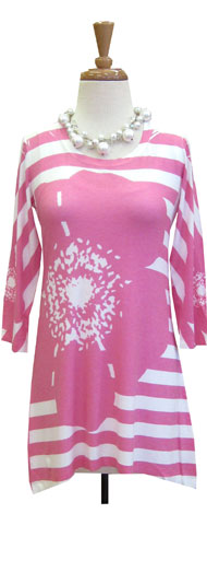 Before & Again Butter Tunic Hot Pink Stripes and Dots