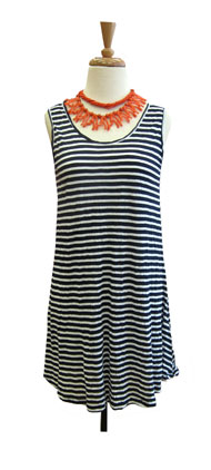 Comfy Crinkle Striped Tank-Navy and White Stripe