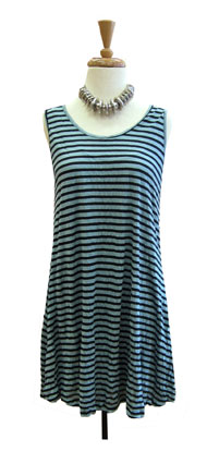 Comfy Crinkle Striped Tank-Seafoam and Black Stripe