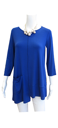 front of comfy blue top