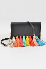 Black multi color tassel bag