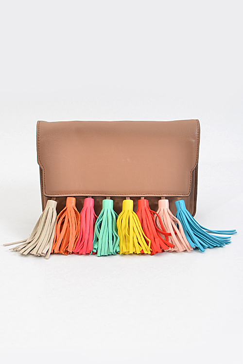 Brown multi color tassel bag