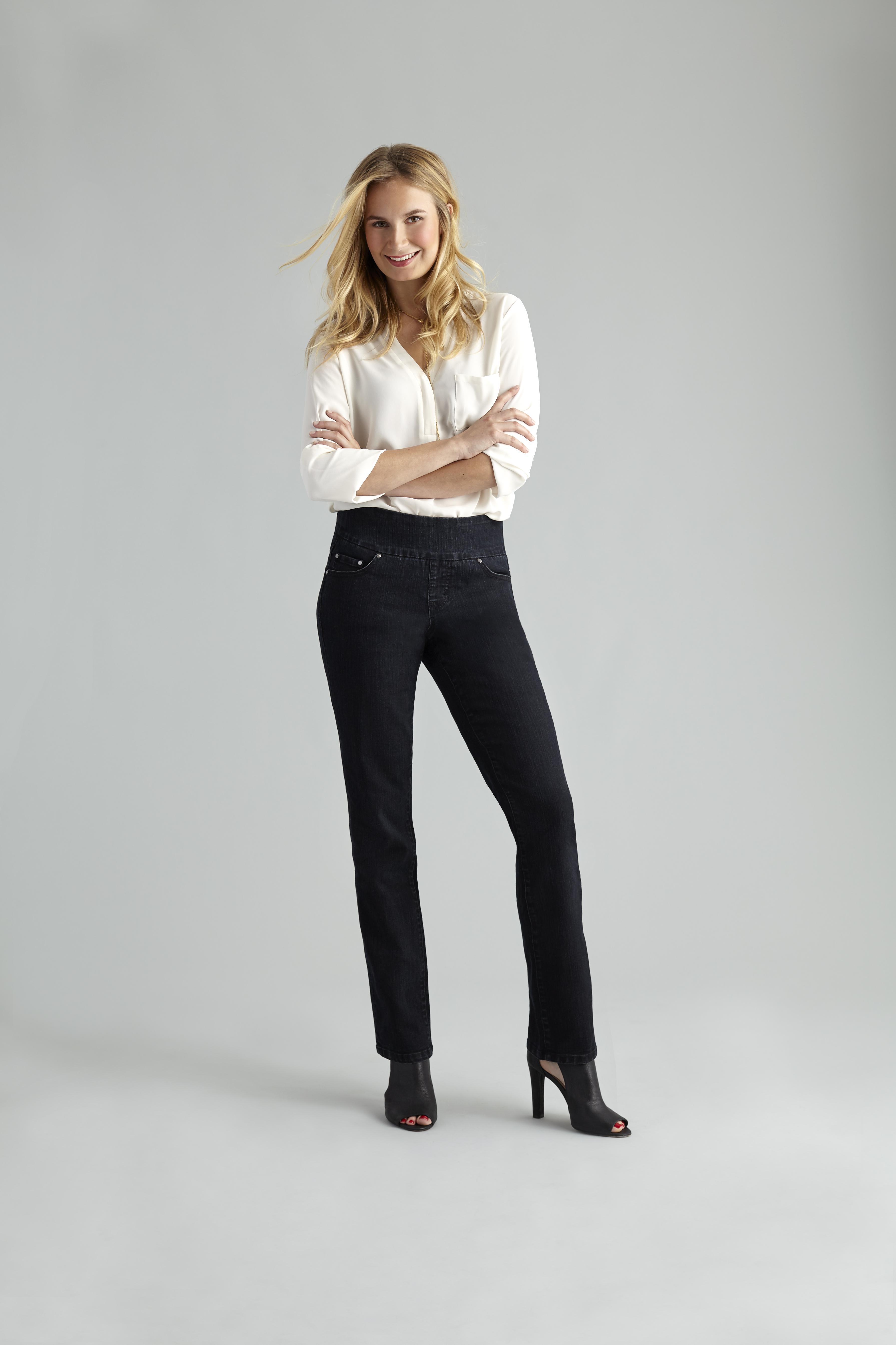 straight leg jean on model
