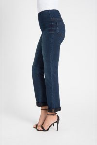 side view of denim boyfriend leggings