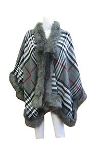 faux fur grey poncho