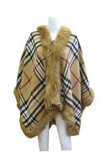 tan faux fur poncho