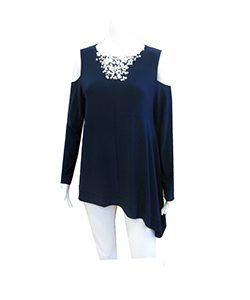 dark blue cold shoulder top