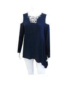 dark blue cold shoulder top