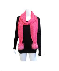 pink pom pom scarf