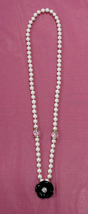 Pearl Strand With Black Flower