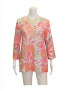 Whismy Rose Banded Bell Sleeve Tunic Pineapple Coral
