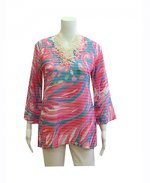 Whimsy Rose Banded Bell Sleeve Tunic Fiona Pink