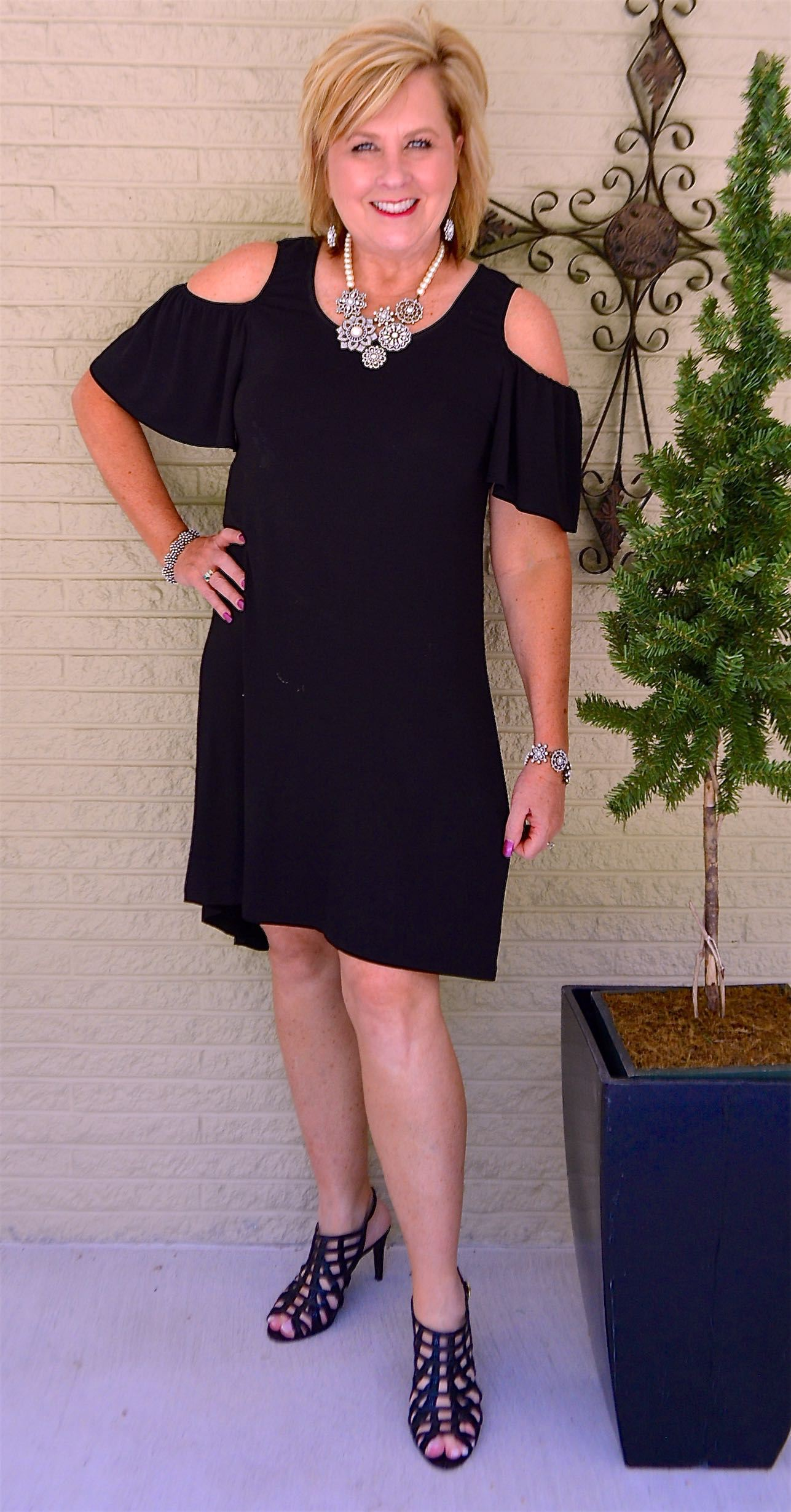 Bobeau Cold Shoulder Dress