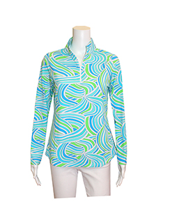 Icikuls Aqua and Lime Green Top