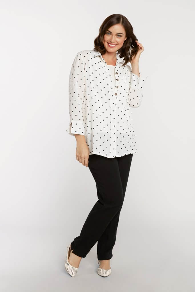 Black & White Polka Dot Fridaze Top