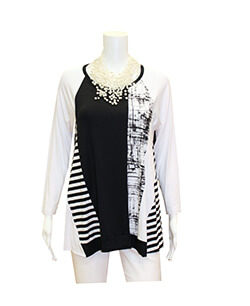 Black & White Mixed Media Top