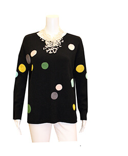 Black Multi Colored Polka Dot Sweater