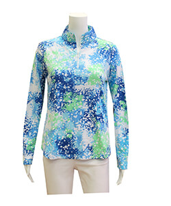 Blue & Green Quarter Zip Pullover