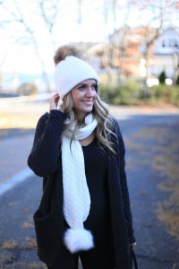 Miss Bethany Kate in Pom Pom Hat & Scarf