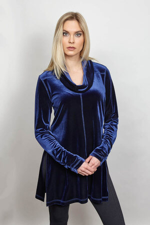 Blue Velvet Cowl Neck Top