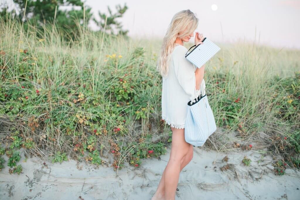 gingham beach bag