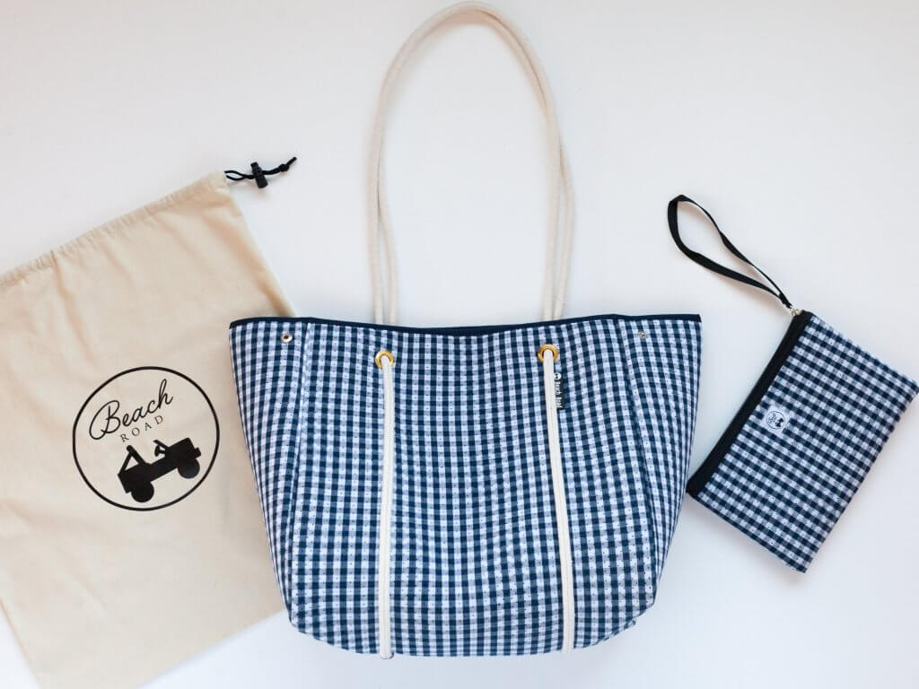 navy gingham beach bag