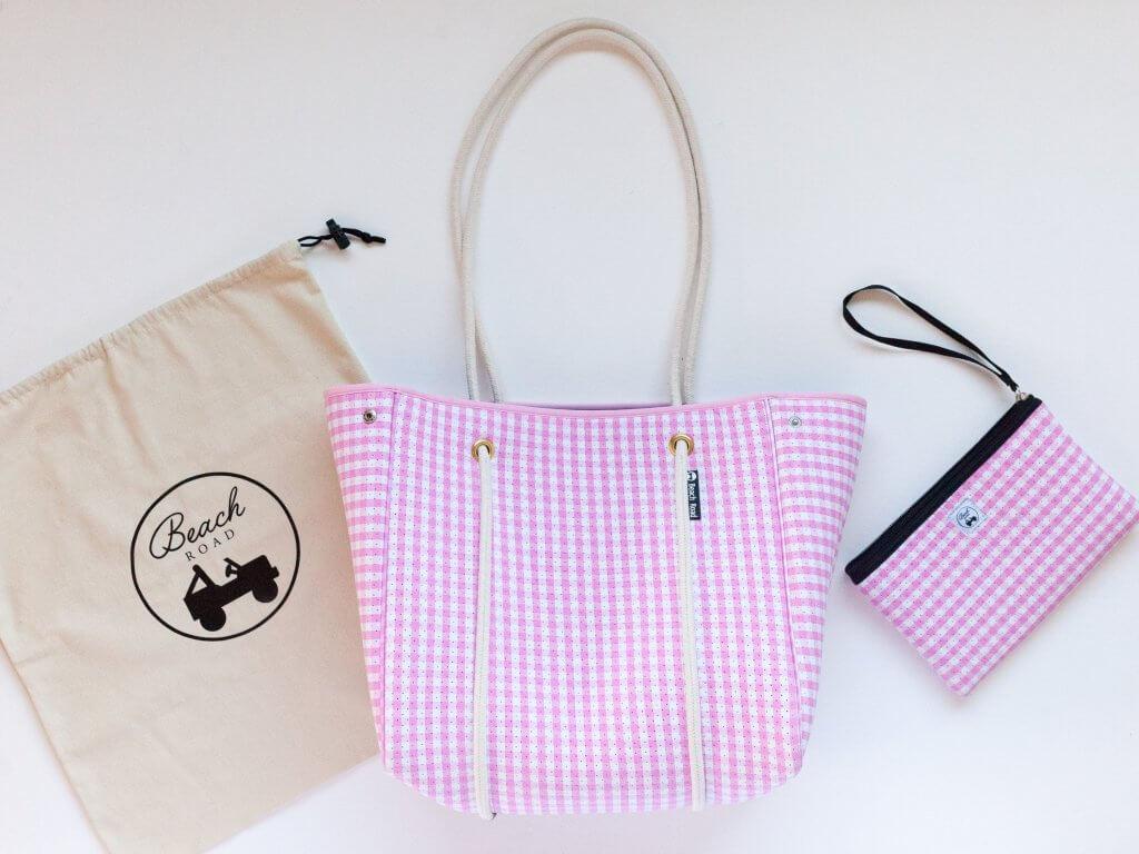 pink gingham beach bag
