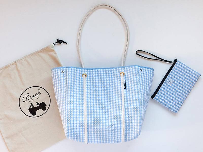 light blue gingham beach bag