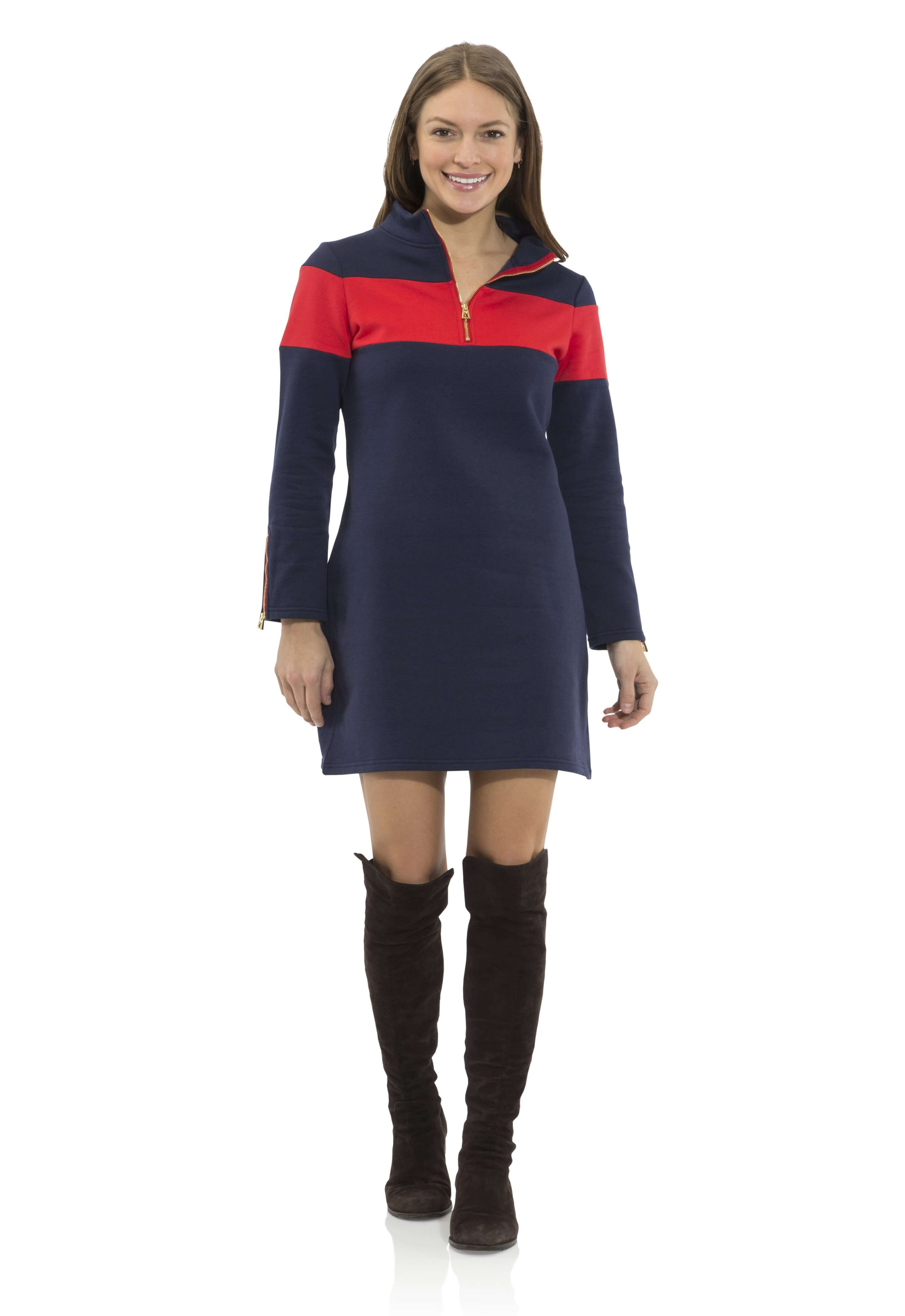 sail to sable french terry zip front dress