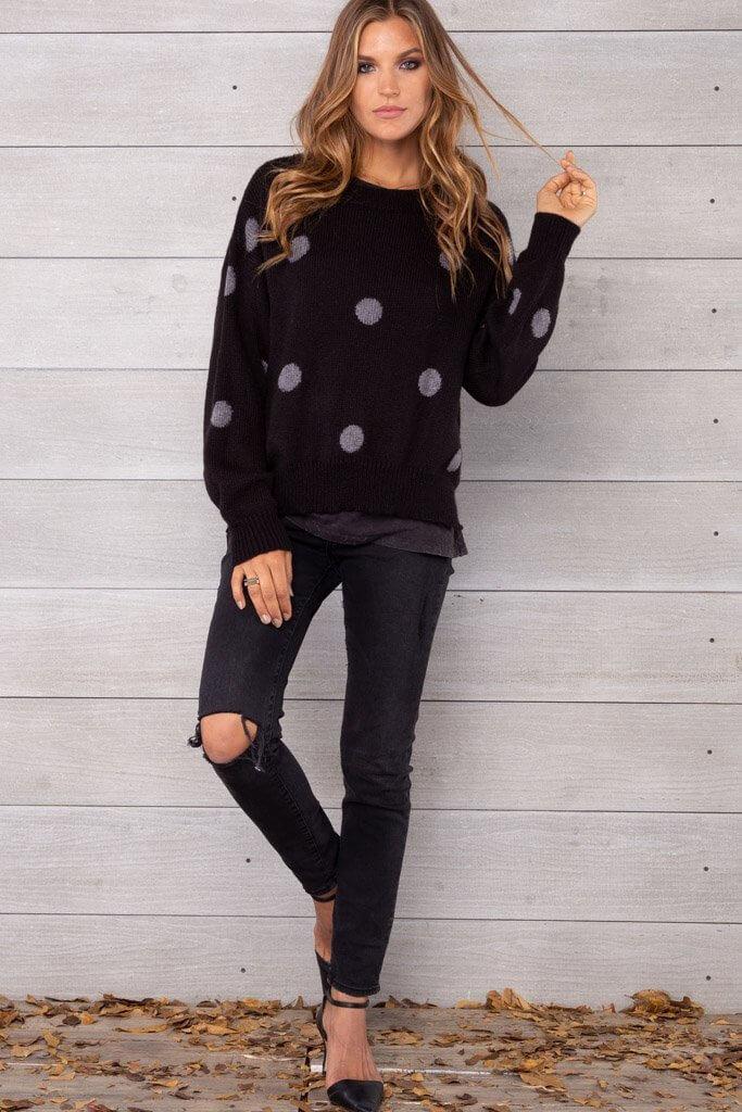 Wooden Ships Polka Dot Crew Sweater Black