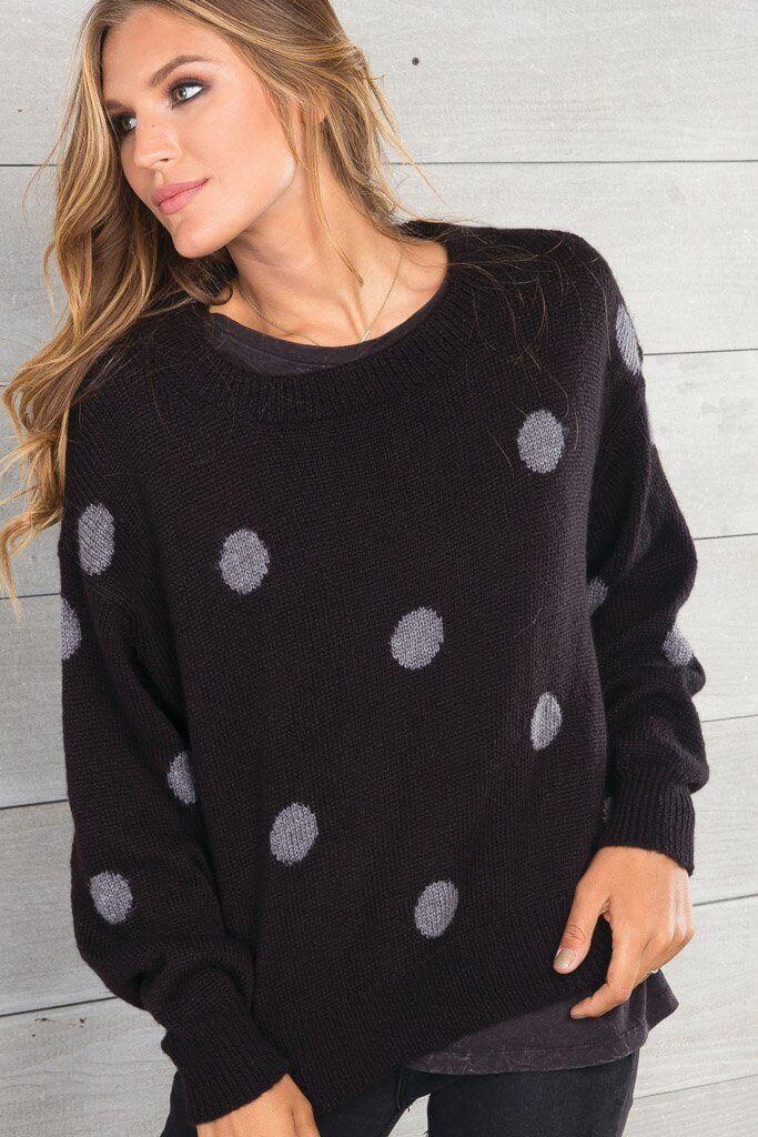 Wooden Ships Polka Dot Crew Sweater Black