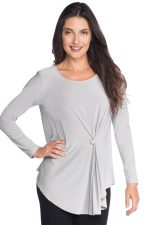 Long Sleeve Top With Front Pinching And Pearl Detail