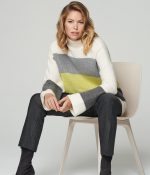 grey green and cream striped mock neck sweater