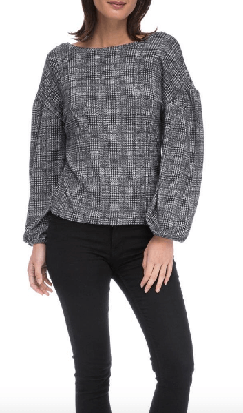 bobeau plaid top with statement sleeves