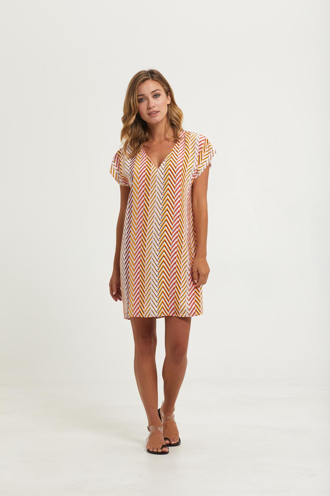 Final Select - Andi Printed Dress - Chevron Stripe - 201-281P_Front