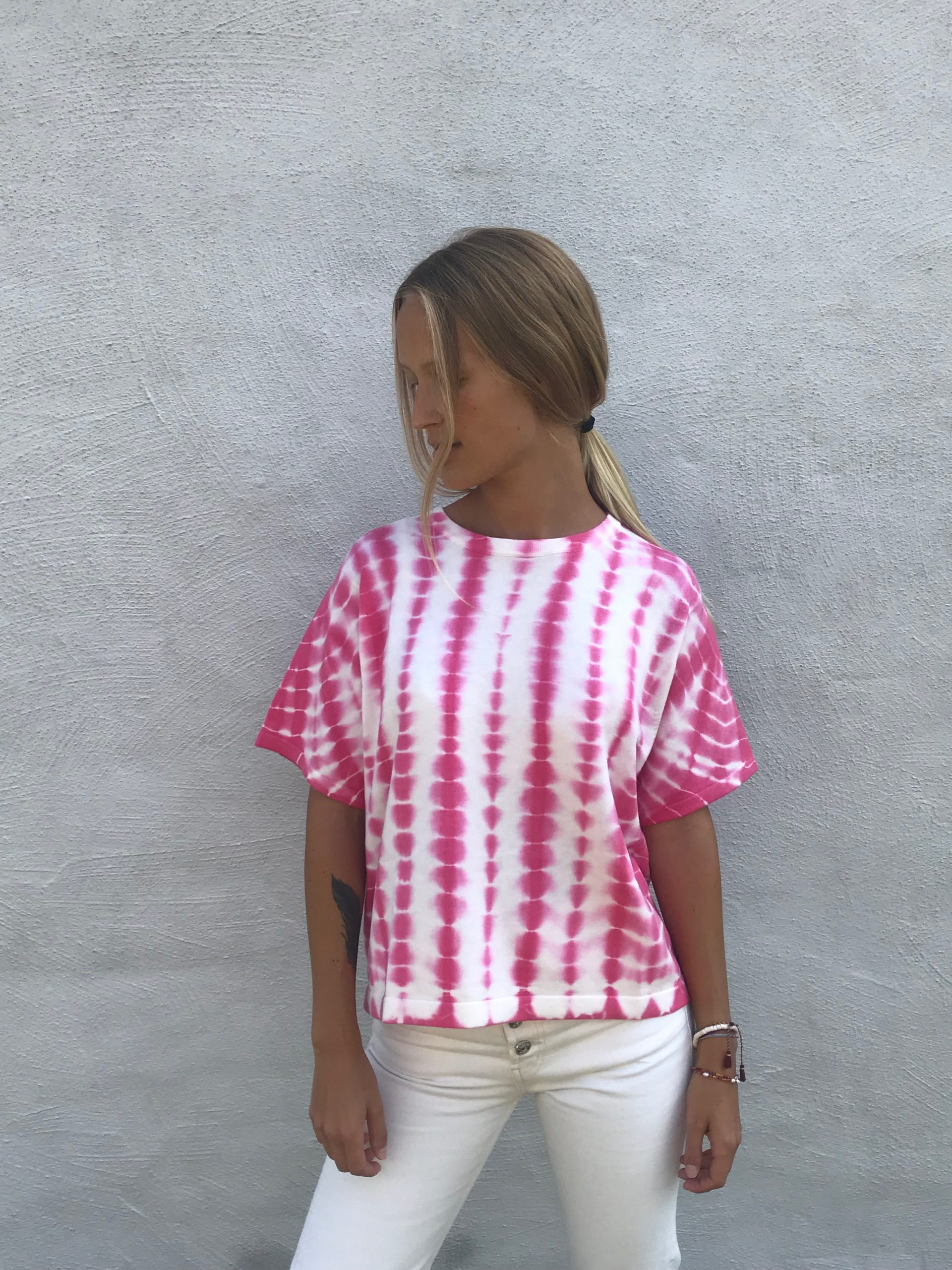 brodieTIE DYE BOXY TEE PINK 2