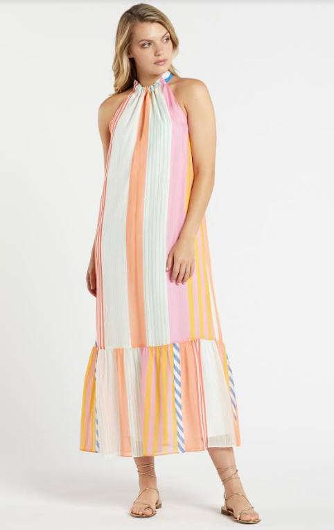 Brynlee Maxi Dress in Pastel Stripe