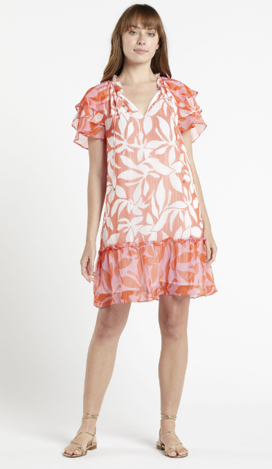 Reid Raglan Dress in Tropical Colorblock